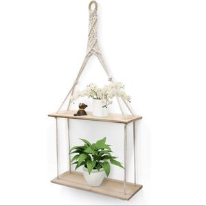 Hanging Wall Shelf 2 Tier Macrame Floating Shelves